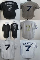 Wholesale Cheap Pinstripe Baseball Jerseys - Factory Outlet Mens Womens Kids Toddlers New YorK 7 Mickey Mantle Black Grey White Pinstripe Best Quality Cheap Embroidery Baseball Jerseys