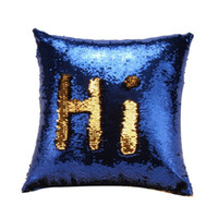 Wholesale hot pink throw pillows - Wholesale- Pillow Case New Hot DIY Two Tone Glitter Sequins Throw Pillows Decorative Cushion Case Soft Covers D12