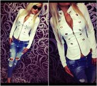 Wholesale White Blazer Cheap - 2015 White Women Jacket Cheap Modest New Vitesdos Zipper Long Sleeve Dress Fashion Sexy Free Shipping In Stocks