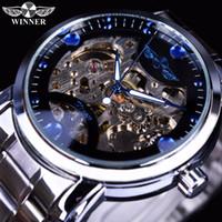 reloj mecánico esqueleto para hombre ganador al por mayor-Ganador Azul Océano Moda Casual Diseñador Hombres Reloj de acero inoxidable Reloj esqueleto Relojes para hombre Marca de fábrica de lujo Mecánico Reloj de viento de mano Reloj