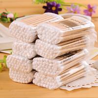 Wholesale wood cotton swabs - 35-40Pcs Bag Home Essential Double Wood Cotton Swab Swab Ear Clean Accessories Hygiene Disposable Makeup stick