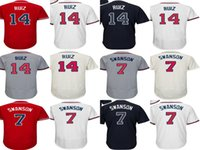 Wholesale Rio L - 2017 Mens Ladys Kids Toddlers Atlanta 7 Dansby Swanson 14 Rio Ruiz Red Beige White Blue Grey Cheap Cool Flex Base Baseball Jerseys