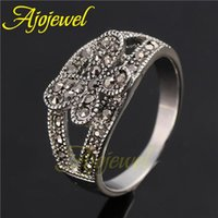 Wholesale Pave Flower - FG 2014 New Arrival Female Jewelry Vintage White Gold Plated Pave Setting Black CZ Retro Flower Ring For Women