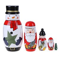 Wholesale Russian Wooden Dolls Set - 5 Layers set Baby Wooden Matryoshka Dolls Cute Christmas Snowman Santa Claus Picture Russian Dolls Gifts Kids Toys Nesting Dolls