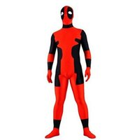 Wholesale Party Full Body Suit - red and black deadpool costume Halloween Cosplay Party Zentai Suit full body zentai costume