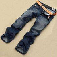 Wholesale Men Italian Pants - Wholesale-High Quality Italian Fashion Men's Jeans Famous Brand Printed Jeans Men Casual Designer Pants,100% Cotton,Blue Color,Wholesale