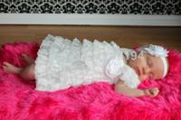 Wholesale Dress Tutu Baby Petti - Baby Girl Dress Newborn White Christening Lace Dress Blessing Petti Lace Ruffle Tutu Dress Girls Infant Clothes