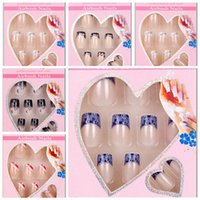 Wholesale Ongles Design - Wholesale-24 x Design False Nails French Full Nail Art display faux ongles Tips free glue