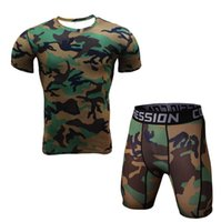 Compression Muscle Tracksuit Demix Running Set Fitness Tight T-shirt Pantaloni Legging Sport Suit Gym Uomo Camouflage Sportswear