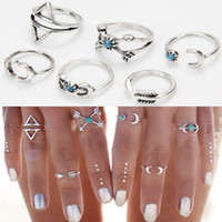 Wholesale Unique Rings - Bohemia Vintage Punk Boho Rings For Women Beach Unique Carving Tibetan Silver knuckle Joint Ring Set 6PCS Set R83