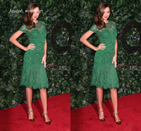 Wholesale Emerald Green Short Dresses - Free shipping Emerald Green Miranda Kerr Scoop Neckline Lace Short Sleeve Knee Length Red Carpet Evening Dress 2017 Party Dress WL356