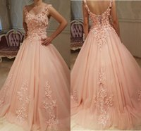 Wholesale Peach Corset Dresses - 2018 Robe De Soiree Peach Ball Gown Quinceanera Dresses Hand-Made Flower Tulle Corset Lace-Up Formal Prom Party Gowns Sweep Train