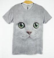 Wholesale Blouse Cats Women - FG1509 2015 Hot women men Wolf   Cat print short sleeve novelty 3d t shirt top Plus Size M L XL XXL design t shirts blouse tees animal