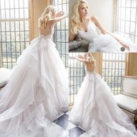 Wholesale Backless Lace V Neck - 2016 White Backless Wedding Dresses V Neck Lace Appliques Organza White Wedding Gowns Layers Sweep Train Boho Beach Bridal Dress