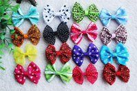 Wholesale Topknot Clip - 50pcs Mix Patterns Design dog topknot bows pet hair Clips Large Bowknot Style dog hair accessories pet grooming products 061010