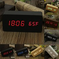 10 Pieces / Pack Acoustic Control Erkennung Wood Clock Dual-LED-Anzeige Bamboo Clock LED Digital-Wecker Led Show Temp Zeit Sprachsteuerung