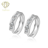 Wholesale Silver Screw Earring Prices - Hoop Earrings New Arrival Platinum Plated with AAA+ Cubic Zirconia Crystal Fashion Jewelry for Women Party Wedding Low Price