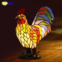 Wholesale Rooster Lights - FUMAT Stained Glass Table Lamp Creative Rooster Lamp Cock Home Docor Lamps For Living Room Office Light Fixtures Table Light