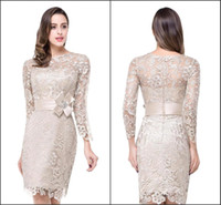 Wholesale Mother Modest Sheath - 2016 Modest Long Sleeve Mother of the Bride Dresses Crew Neck with Handmade Belt Sheath Knee Length Vintage Lace Formal Evening GownsBZP0845