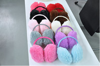 Wholesale Earmuffs Adult - Wholesale-Fashion Elegant Women Ladies Colorful Plush Fluffy Warm Earmuffs Earlap Ear Winter 2015 Hot Sale New