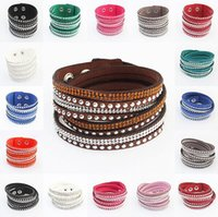 Wholesale Leather Bracelet Rock Style - BEST QUALITY Unisex PU Leather Woven Bracelets Rivet Rhinestone Charm Bracelets Bohemia Style Wild Punk ROCK ROLL Style Multilayer Jewelry