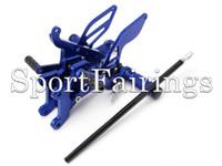 Wholesale motorcycle footpegs resale online - Blue Adjustable CNC Billet Rearset Rear Set Footrest Foot Set Footpegs Foot Peg For Yamaha YZF600 R6 Year Motorcycle