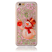 Wholesale iphone snowman - Christmas Snowman Glitter Liquid Star Cases Hard PC Shining Bling Style For IPhone X 8 7Plus 6S S8 S7 Edge