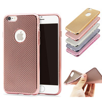 Wholesale Cover Ventilation - Luxury Woven Pattern Electroplate Plating grid Hollow Dots Ventilation Soft TPU Case Cover For iphone 5 5S 6 6S Plus DHL free