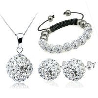 Wholesale Shamballa Bracelet Earring Necklace Set - 100% Silver 925 Sterling Silver Jewelry Sets Fashion White Shamballa Trio Set Necklace + Earring+Bracelet Solid Silver