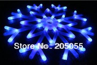 Wholesale Motifs Led - Wholesale-Snowflakes LED fairy String Light snow flake rope motif 40 bulb Indoor Outdoor Christmas Xmas tree Decor Bracket lamp 220V-Blue