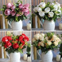bastante primavera flores al por mayor-Nueva Encantadora Hermosa Bastante Artificial Fake Spring Rose Flowers Floral Wedding Home Hotel Decor