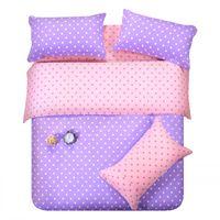 Wholesale Doona Cover Sets - Purple pink dots bedding set polka dot full queen size double doona quilt duvet cover cotton bed sheets bedspread linen bedsheet western
