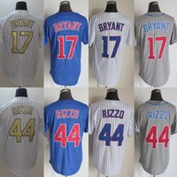 Wholesale Free Cool Logos - New Men's Cool base Jersey #17 Kris Bryant #44 Anthony Rizzo White Blue Grey Embroidery Name and Logo Baseball Jerseys Free Drop Shipping