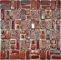 telhas de mosaico vermelho venda por atacado-Artesanato de mão porcelanato vermelho backsplash telhas da telha da cozinha da cozinha PCMT078 telhas cerâmicas do banheiro do mosaico