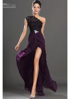 Wholesale Dress Making Pins - Dark Purple 2015 New Arrival Evening Dresses One Shoulder Black Lace Crystals Pin Red Carpet Gowns Sexy Prom Gowns Dresses new design 2016