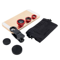 Wholesale Digital Camera Lens Phone - Wholesale-10pcs lot For iPhone 4 4s 5 5s 5c 6 3 in 1 Wide Lens + Macro Lens + 180 Fish Eye lense, for all mobile phones Digital Camera