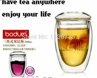 Wholesale Bodum Glasses - Novelty gift 1sets lot Bodum Double Wall Glass tea strainer 350ml,coffee tumbler,glass tea cups with lid and infuser