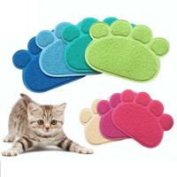 Wholesale Cat Litter Wholesale - New Pet cat litter mat 14 colors cat mats Lovely paw print waterproof anti-slip mats Cat supplies IC863