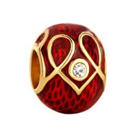 perlas de huevo faberge al por mayor-Fábrica de joyería de metal de esmalte de cristal pavimentado Faberge huevo encanto moda Rushion huevo perlas se adapta para pulseras