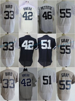 Nueva York 33 Greg Bird 42 Mariano Rivera 46 Andy Pettitte 51 Bernie Williams 55 Sonny Gray Flexbase Jerseys Cool Base Throwback Stitched Whit