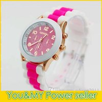 Wholesale Geneva Double Watch - 2016 NEW Design Jelly Candy GENEVA Double Color Men Ladies Silicone Dress Watches Unisex Sports Style Jelly Wristwatch 15 colors