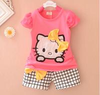 Wholesale Popular Suits - Wholesale-Summer girl popular cat top+short pant set 2 pieces children short sleeve bowknot clothes suit 4s l