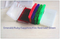 Wholesale Ruby Wholesale - 5pcs USA EU version English language gameboy cartridges video gift cards poke gba games fire red ruby sapphire leaf green emerald Christmas