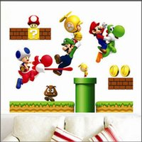 Wholesale Mario Bros Posters - New Christmas Classic Game Super Mario Bros Kids Removable Wall Sticker Decals Nursery Home Decor Vinyl Poster