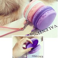 Wholesale Silicone Wallet Zipper - Silicone Coin Purse Wallet Headset Bag Jewel Case Pouch With Zipper Strap And Pink, blue, Purple Three Color