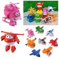 Wholesale Mini Toy Train - 8Pcs Set Super Wings Transforming Plane Toy Mini Airplane JETT Robot Toys Korea TV Animation Character