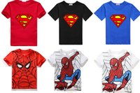 Wholesale Kids Shirts Spider - summer tops shirt Superman cartoon t shirts Spider-Man cotton girls t shirt kids girls boys clothing