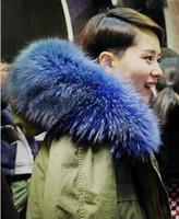 Wholesale Coats Skirt Fur Collars - Mr & Mrs Furs Italy women's furs coat hooded with raccoon fur collar rabbit fur liner Green jacket