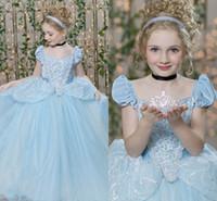 mavi kısa tül elbiseler toptan satış-Külkedisi Pageant Elbiseler Gençler Için Kısa Cap Sleeve Pleats Sequins Lacing Sky Blue Çocuklar Balo Çiçek Kız Elbise Tül Kız Balo Elbise
