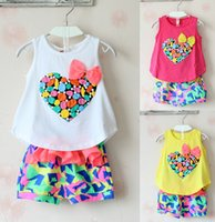 Wholesale Sweet Suits - summer kids clothes 2015 love Heart top children girls flower shorts sets princess sweet twinset flower bow suit children free shipping